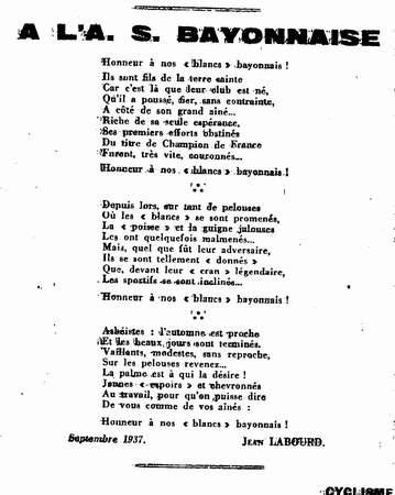 chanson aviron bayonnais